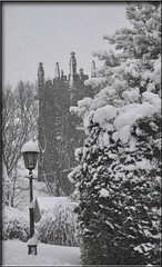 St Michael's Church Tower in the snow (littlestschnauzer) Tags: uk winter england white snow cold west tree tower church lamp weather st century snowflakes mono nikon pretty view snowy yorkshire january scenic freezing christian falling historical chilly snowing snowfall 15th michaels cofe 2013 d5000 elementsorganizer11