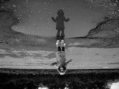 reflection (Paigemiddphoto) Tags: road lighting winter girls light portrait blackandwhite bw black reflection tree love water girl face contrast landscape geotagged puddle lights jump movement pretty faces coat air geotag