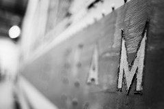 ...For Malevolence (belleshaw) Tags: blackandwhite rivets bokeh decay letters m oldpaint oerm orangeempirerailwaymuseum perrisca