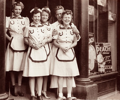 Four Co-Workers and Verna Griffin, St, Johnsbury, Vermont about 1940 (JFGryphon) Tags: vermont 1940 icecreamshop stjohnsbury vernagriffin