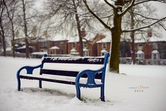 First Snow (pRaTuL rAgHaV) Tags: park uk travel blue houses light snow bench lens 50mm prime nikon bright bokeh f14 g united kingdom surrey monday nikkor guildford flakes stoke afs d800