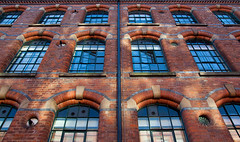 Factory Project #4 (PeteZab) Tags: nottingham uk windows england reflection building heritage history mill architecture factory victorian redbrick 2013 canoneos50d newdigatestreet petezab peterzabulis sigma1770f284dcmacroos