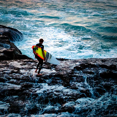 DAy 34:Heading out (Gerry Lefoe) Tags: ocean rocks waves surfer surfboard rough 34365