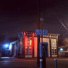 (deatonstreet) Tags: longexposure 120 film night kentucky slide payphone louisville neonsign fujichrome automat flexaret t64