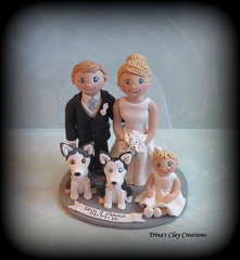 Family Wedding Cake Topper Keepsake (Trina's Clay Creations) Tags: art sculpture weddingcaketopper wedding caketopper customcaketopper clayfigure claycaketopper brideandgroom groomscake gift anniversary trinasclaycreations trinaprenzi topper polymerclay personalized unique weddingcake weddingdecor keepsake dog animal husky siberianhusky baby littlegirl familyportrait family figurine familykeepsake