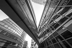 overhead (Blende1.8) Tags: dsseldorf duesseldorf urban modern contemporary architecture architektur city facades fassaden lines linien curve nrw medienhafeen sony ilce7m2 a7 a7ii a7m2 alpha voigtlnder wideangle mono monochrome monochrom sw black white carstenheyer outdoor overhead sky nachoben germany deutschland