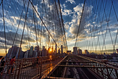 On the Brooklyn bridge (marko.erman) Tags: city travel bridge sunset sky panorama usa sun newyork beautiful architecture brooklyn clouds buildings cityscape view skyscrapers unitedstates pov manhattan sony horizon unitedstatesofamerica cables brooklynbridge downtownmanhattan