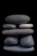Seven River Stone Cairn (KellarW) Tags: stone balanced riverstone cairn balance stones rocks onblack riverstones seven 7 balancedisolation rock macro stack isolation stacked