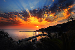 I dreamed I saw a sailing ship (Idreamofpies) Tags: poroskefalonia cephalonia greece ionian islands sea sky clound sun sunrise morning light silhouette coast harbour boat ripples