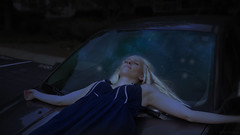 A visit with her sisters (InByTheEye) Tags: night stars star fantasy yvaine stardust shine photoseries photoshop sony car windshield reflection happiness calm glow blue starlight
