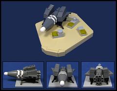 Prepararations for departure (Karf Oohlu) Tags: lego mon microscale microspacetopia spaceship scfi refueling