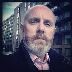 Pensive (John D McKenna) Tags: bear gay hairy london fur beard blueeyes bald honoroakpark se23 hipstamatic