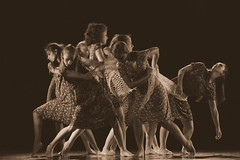 dancers in the night (Blue Spirit - heart took control) Tags: art festival sepia night dancers notte padova ballerine rubano