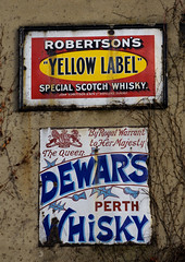 Whisky galore! (steverichard) Tags: street old sign wall museum advertising marketing photo coatofarms image drink dundee scottish whiskey beamish special alcohol perth advert booze whisky scotch robertsons dewars openair robertson distillers enamel dewar royalwarrant yellowlabel hermajestythequeen streetjewelry streetjewellery steverichard