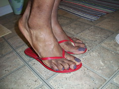Sally Hansen - Slick Slate nail polish  in red flip flops (8) (hyellow) Tags: sexy feet beautiful foot nice toes long pretty unique gorgeous polish nails flip flops slate elegant