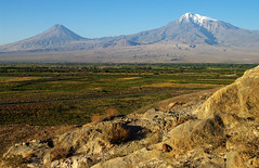 Peaks of Ararat from Khor Virap (Gregor  Samsa) Tags: light sun mountain snow mountains fall sunrise volcano october view illumination peak mount armenia peaks spiritual overlook viewpoint armenian ararat mtararat khor mountararat khorvirap virap