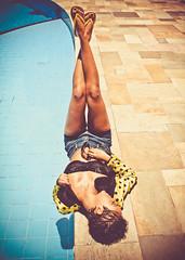 Mariana (From.Saints) Tags: blue light summer brazil sun black hot green pool girl beautiful sunglasses yellow brasil natural tan sunny ground jeans polkadots jacket short flipflops shorthair brunette curlyhair novembro direct tanned 2011 undercut croptop