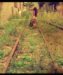 It's all about the end (Mirage44) Tags: road travel green girl grass bag leaving back spain sad egypt bilbao greece end railways