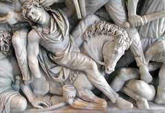 Ludovisi Battle Sarcophagus, detail with fallen horseman