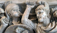 Ludovisi Battle Sarcophagus, detail with trumpeter