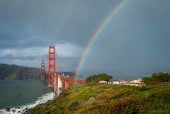Rainbow x2 Bridge (Joe Azure) Tags: sf sanfrancisco ca clouds rainbow azure stormy goldengatebridge ggb wawan joeazure jazure
