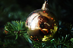 Cliche Christmas (evaxebra) Tags: christmas camera macro reflection tree ball gold ornament needles