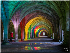 Rainbows at Fountains (Maria-H) Tags: uk england rainbow unitedkingdom yorkshire worldheritagesite panasonic explore fountainsabbey nationaltrust floodlit ripon englishheritage 1235 gh3 cellarium dmcgh3