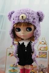 Purple Bear Hat for Blythe