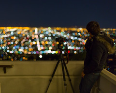 Who watches the watcher? (melfoody) Tags: city night canon losangeles photographer bokeh observatory griffith my700thuploadtoflickr