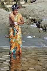 Varanasi - India (Joao Eduardo Figueiredo) Tags: old india heritage water river religious nikon women bath asia colours indian faith religion temples sacred varanasi spiritual shiva hindu hinduism saree sari pilgrimage banks ganges ghats benares ghat holycity uttarpradesh nikond3x