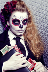 Fire the managers. II (photgraphy.com) Tags: money death blood makeup editorial muertos society greed mankind managers decadent