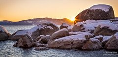 Sunset Peaking Behind Rocks, Sand Harbor, Lake Tahoe (Charlotte Hamilton Gibb) Tags: winter sunset landscape laketahoe weatherandseasons charlottegibbphotography