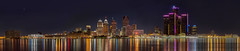 Detroit, MI (w4nd3rl0st (InspiredinDesMoines)) Tags: park travel light summer urban panorama ontario color beautiful night canon reflections river dark artwork gm screensaver outdoor michigan pano stock detroit wide panoramic peoplemover windsor hdr detroitriver riverwalk renewal rencen revival hartplaza cobohall stockphotography motorcity joelouis 100400l 2013 stockart puremichigan 5dmk2 frameableart