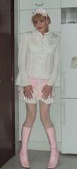 Sweet brolita (Felicia Colette) Tags: boots sissy transvestite miniskirt whitestockings brolita frillyblouse