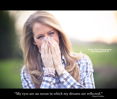 """""""My eyes are an ocean in which my dreams are reflected."""" (Sasha L'Estrange-Bell) Tags: blue winter portrait quote sashabell oliviabell sashabellphotography quoteproject quoteborders quotephotograph"""
