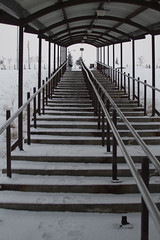 Steps Up to Downtown (ErikHalfacre) Tags: winter snow ice alaska stairs slick stair steps rail step anchorage covered