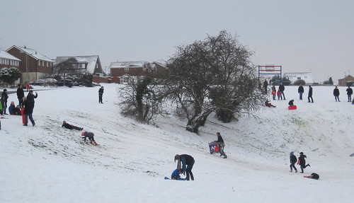 Funtastic time in the snow at the Green in Rushden UK