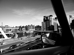 Newcastle import edit (PaigeEviee) Tags: city blue sky people bw white black art love car clouds contrast photoshop buildings river dark newcastle geotagged grey mirror photo gallery bright overlay baltic tyne layer geotag whie