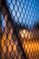 boronia-0054-ps-w (pw-pix) Tags: blue orange yellow grey black mesh fence security cyclonewirefence chainlinkfence gate bards slidinggate sky lights sodiumvapour carpark rooftop light night dark evening urban suburban easternsuburbs boronia melbourne victoria australia peterwilliams pwpix wwwpwpixstudio pwpixstudio