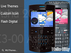 Hello kity theme C3-00, X2-01, Asha 200, 201, 205, 302 by wb7themes