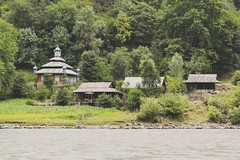 Kashmir (Ayeshadows) Tags: kashmir wood houses mosque mountains corn fields river neelam huts tinroof