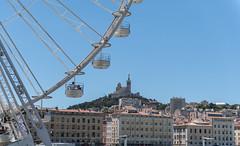Marseille Vieux Port Ferris Wheel and Notre-Dame de la Garde (Scott_Nelson) Tags: marseille provencealpesctedazur france fr travel mediterranean