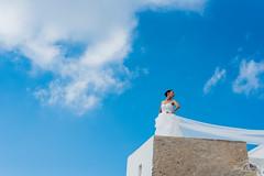 Look up for Brides. (Jordi Corbilla Photography) Tags: wedding santorini greece nikon d750 bride sky blue pose model jordicorbilla jordicorbillaphotography fira