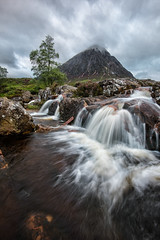 Buachaille Etive Mr (Pete Rowbottom, Wigan, UK) Tags: glencoe rivercoupall riveretive waterfall mountain scotland scotland2016 landscape dawn earlymorning river falls waterfalls water remote landmark peterowbottom tree rural desolate movingwater movement dramatic drama nikond750 lochaber highlands highlandsofscotland highlandsandislands scottishlandscape photography buachailleetivemr munro uklandscape flowingwater moody