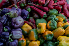 Peppers at the market (Erbin D'kay) Tags: colorful pepper red green yellow purple blue colorsinourworld farmersmarket