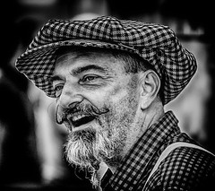 Singing at the Fair (Andy J Newman) Tags: tarranthinton england unitedkingdom gb hdr hdrefex silverefex nikon d500 candid street portrait blackandwhite bandw bw blackandwhitehdr gfds busker musician beard moustache man silver grey