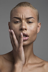 Undone (cityboycza89) Tags: hot sexy nice shorthair haircut lips hazeleyes browneyes model skin female fashion beauty brownskin lightskin photography faceshot freckles woman portrait approved