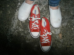 Red Converse verses cheap plimsolls (eurimcoplimsoll) Tags: plimsolls plimsoles converse sneakers comparison trainers daps pumps elastic gym gymnastic shoes canvas red white