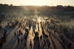 Morocco (fredcan) Tags: morocco maroc maghreb africa marrakech city jemaaelfna square citycentre evening sunset dusk people crowd light shadows silhouettes travel fredcan street
