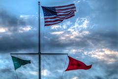 Rough Surf (aka Buddy) Tags: 2016 summer american flag flags wind sky clouds seabright nj og hdr